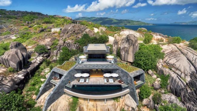 6/20 Six Senses Zil Pasyon, Seychelles Located on the unspoilt, private island of Félicité is Six Senses Zil Pasyon, home to one hell of a resort pool. A few steps from the master bedroom of the private is a personal plunge pool overlooking the ocean. To top it off, each pool features Plexiglas floor that allows natural light to filter into the living space below.