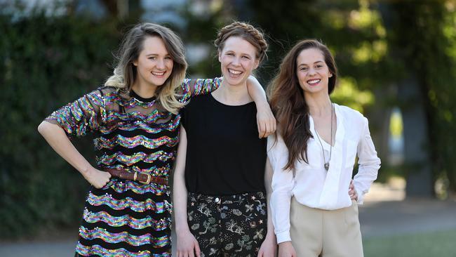 Yve Blake, Anna McGahan and Melanie Zanetti ahead of Queensland Theatre's 2019 season. Picture: Tara Croser.