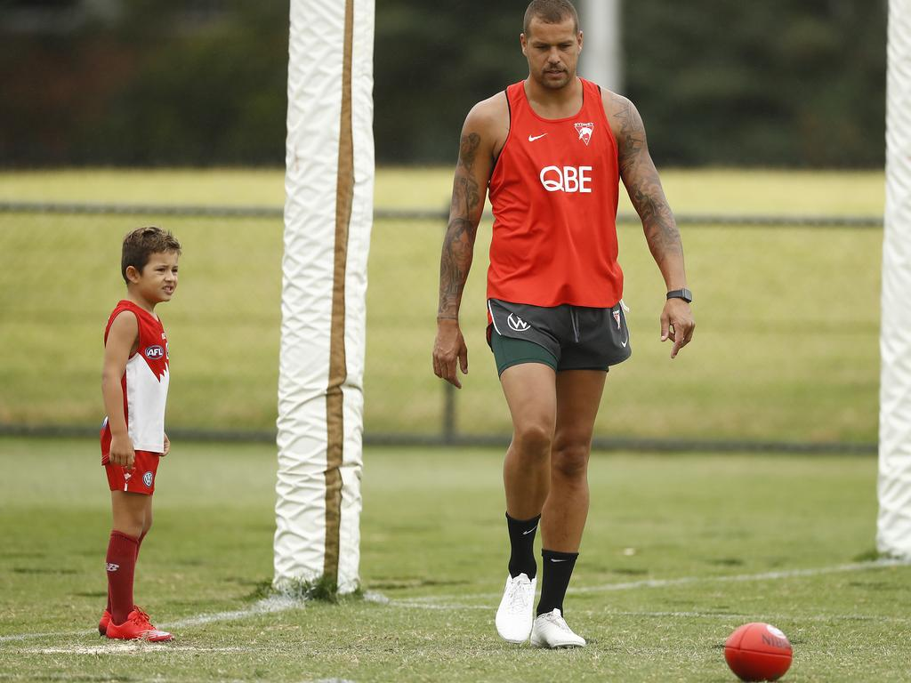 Lance Franklin has been unable to stay on the training paddock.