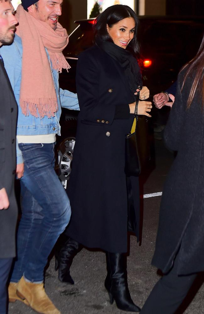 Meghan was rugged up in a Victoria Beckham coat. Picture: Splash News