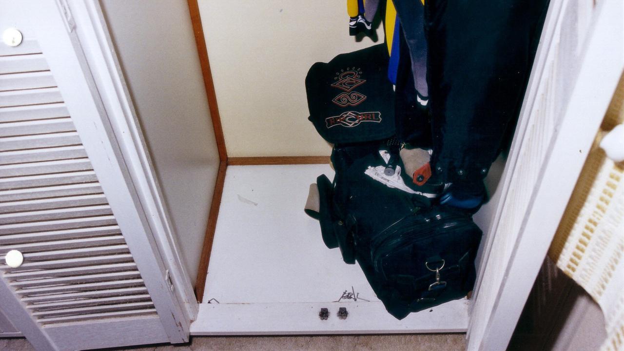 The cupboard where Natasha Ryan was found hiding by police.