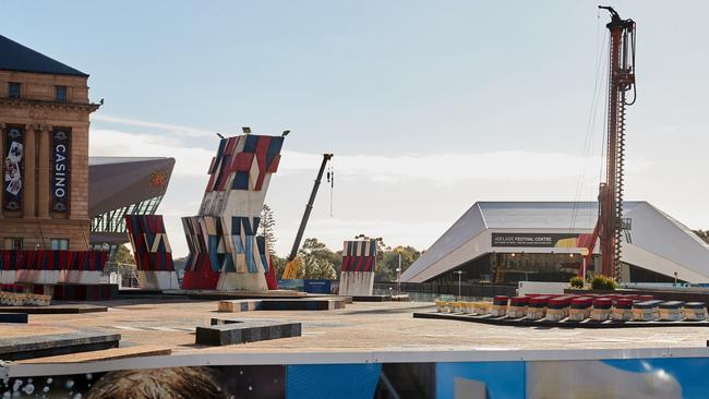 Progress of the Festival Plaza site on July 26, 2017. Picture: Matt Loxton/AAP