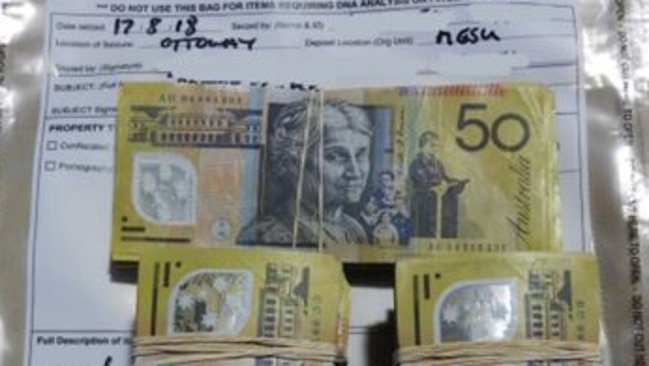 A small quantity of the confiscated cash. Picture: SAPOL