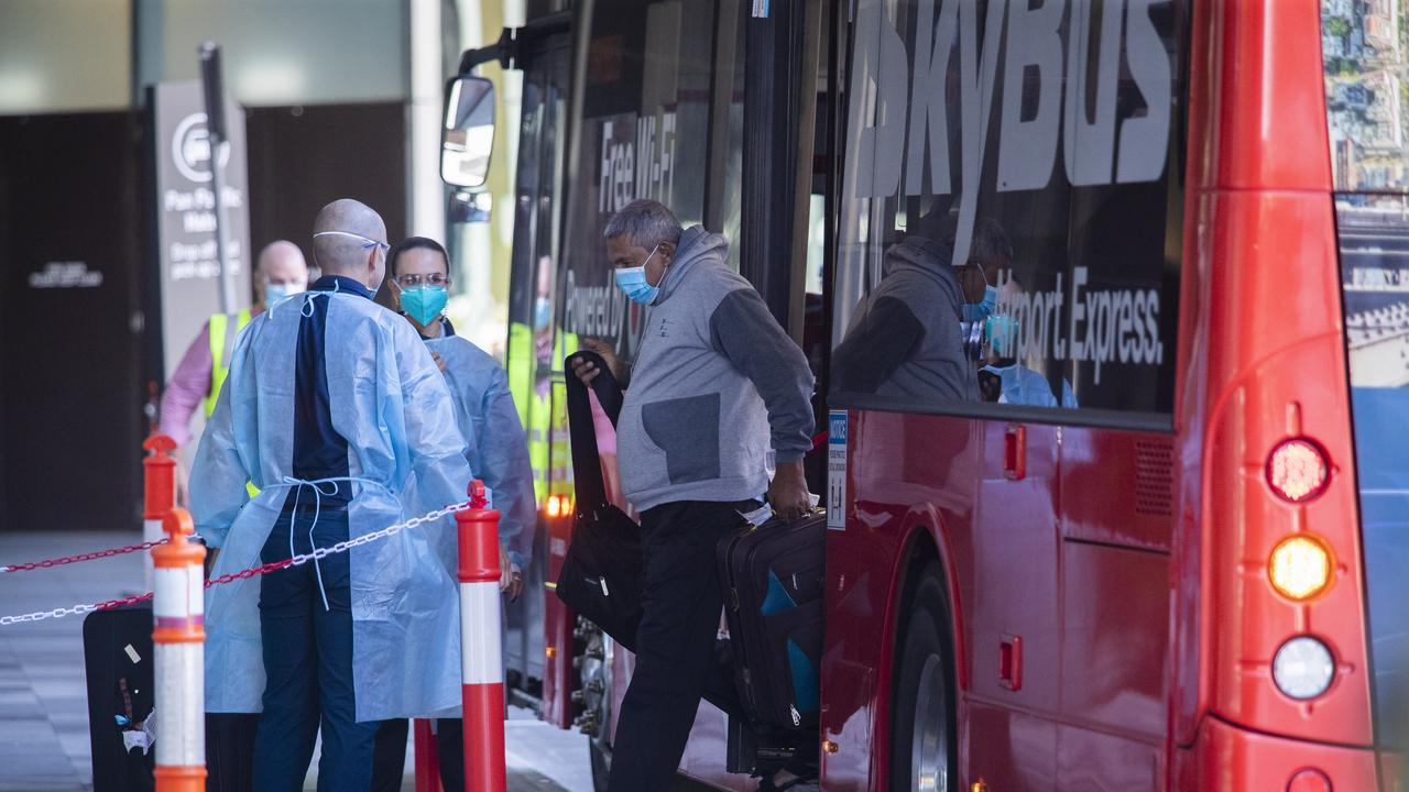 Passengers arrive at the Quarantine hotels in Melbourne today. The Pan Pacific in South Wharf. Picture: NCA NewsWire / Wayne Taylor