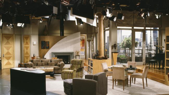 Inside Frasier and Martin's not so real apartment.
