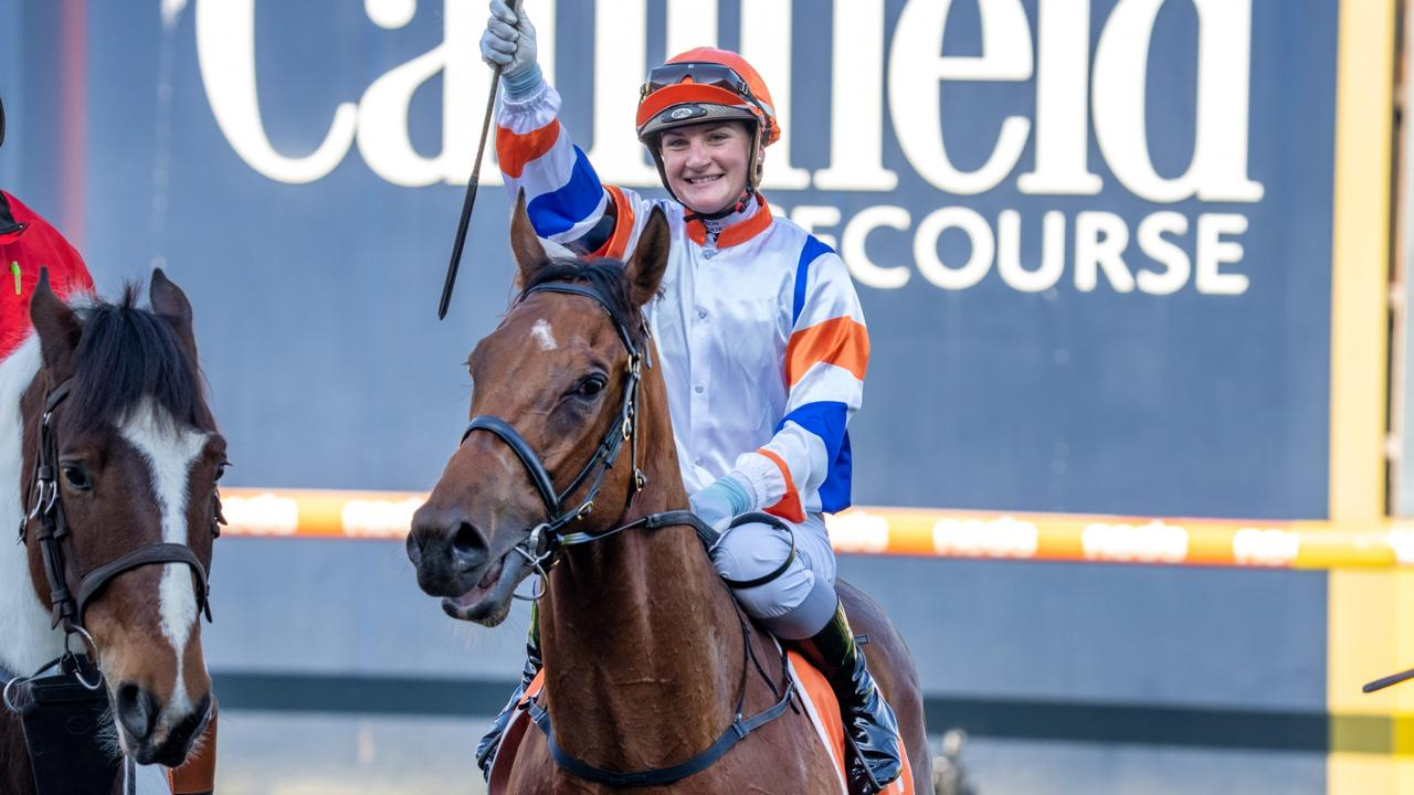 Jamie Kah celebrates her 100th city win last month after winning with Deep Speed. Picture: Racing Photos via Getty Images