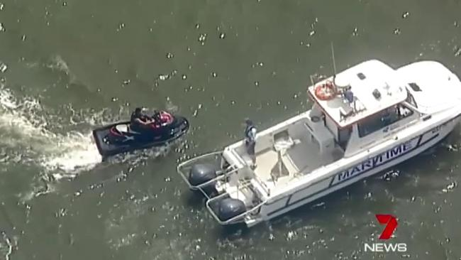 Police searching the Georges River after the 23-year-old vanished. Picture: Seven News