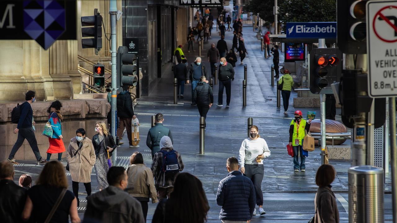People out and about in Melbourne's CBD post-lockdown. Picture: Jason Edwards
