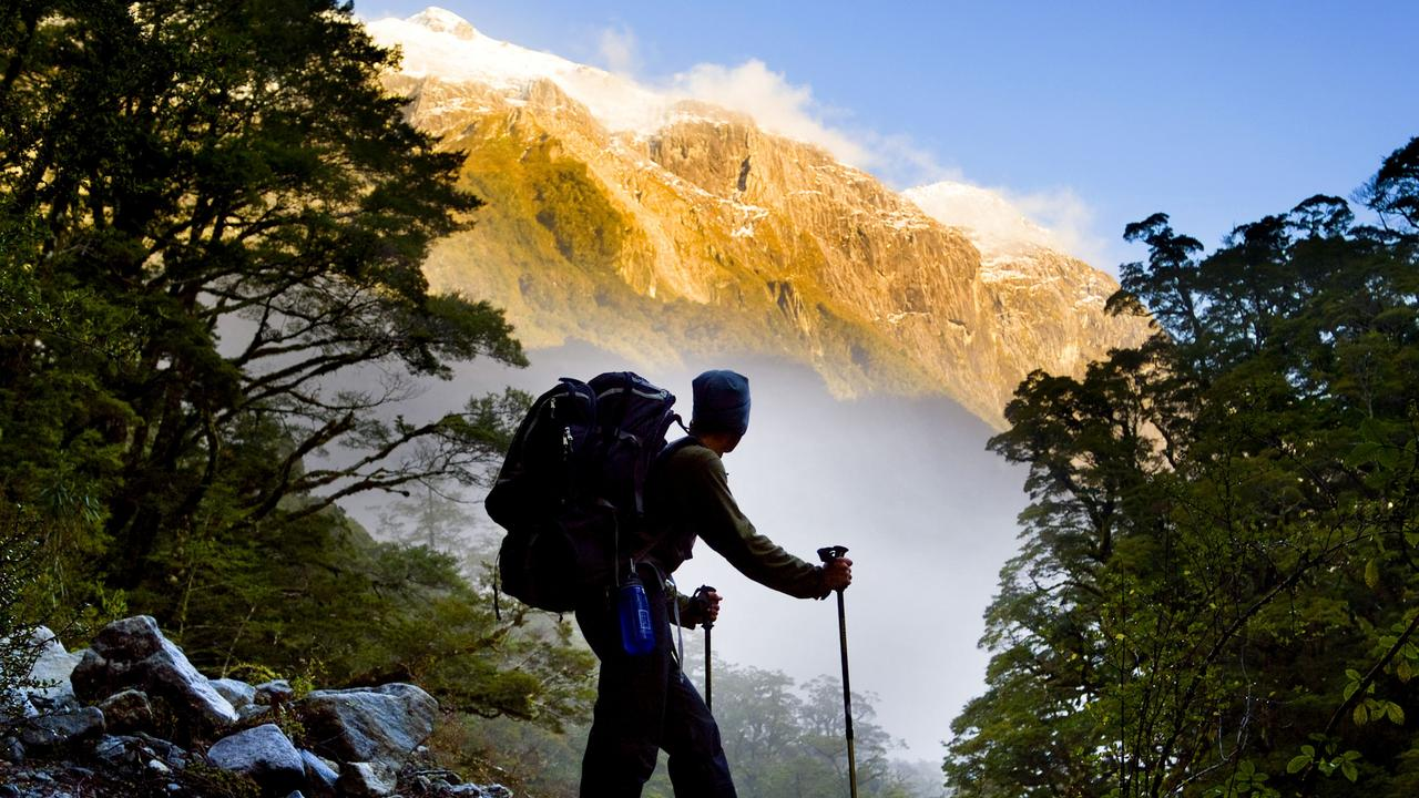 May 2006: Milford Track, New Zealand. The second day on the trail, between Clinton Hut and Mintaro Hut treats hikers to astounding views of the valleys and peaks. Keywords: tourism / vista / scenic / generic / stock / travel / camping / hiking / tramping / sunrise / early morning / epic / triumph