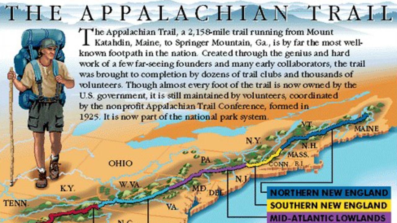 The Appalachian Trail, which Brian Laundrie reportedly knows well, runs from Georgia up the east coast to Maine.