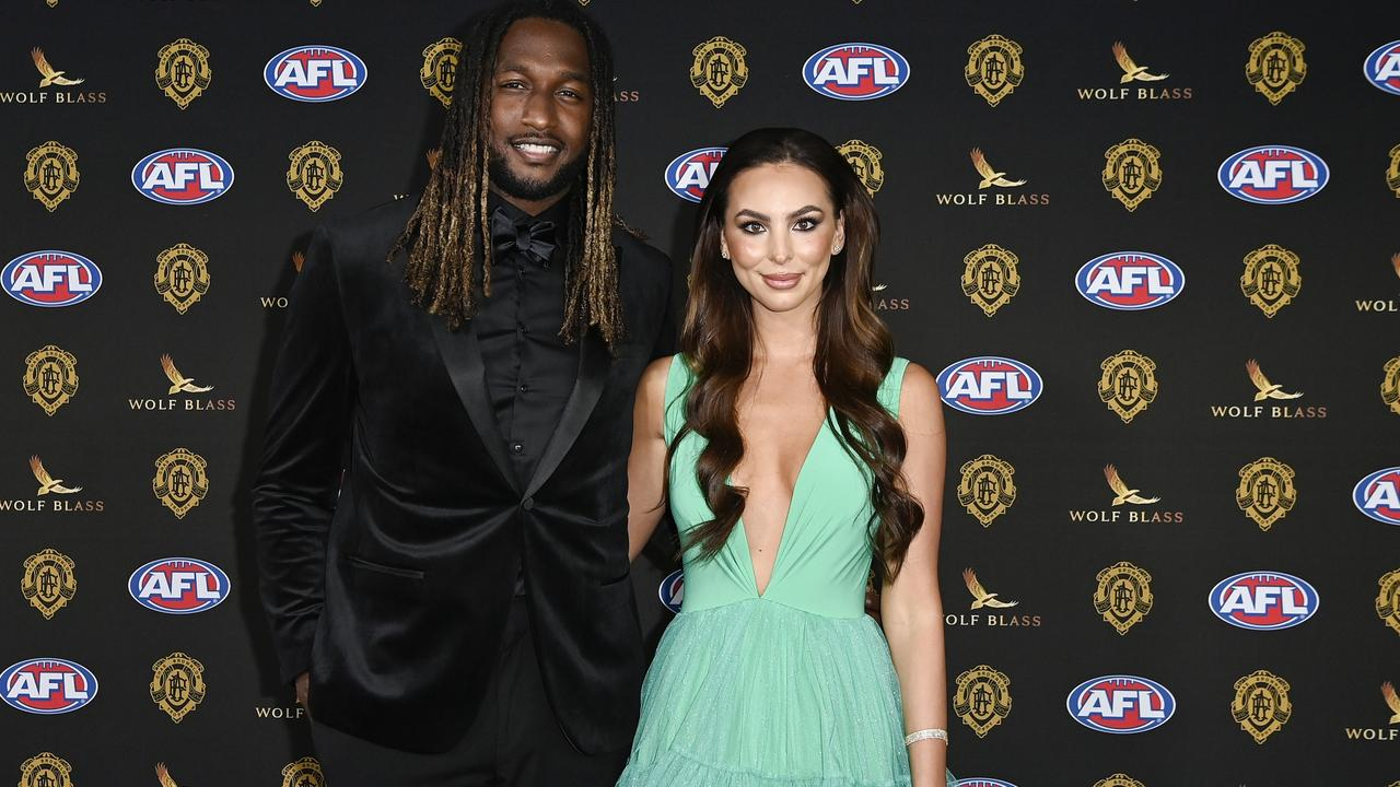 Nic Naitanui and partner Brittany Brown. Photo: Stefan Gosatti/Getty Images