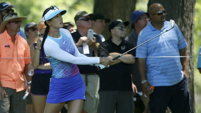 Michelle Wie plays a shot at the Women's PGA Championship. The focus should be on her ability, not on whether her skirt is too short, says Natalie von Bertouch. Picture: Charles Rex Arbogast (AP)