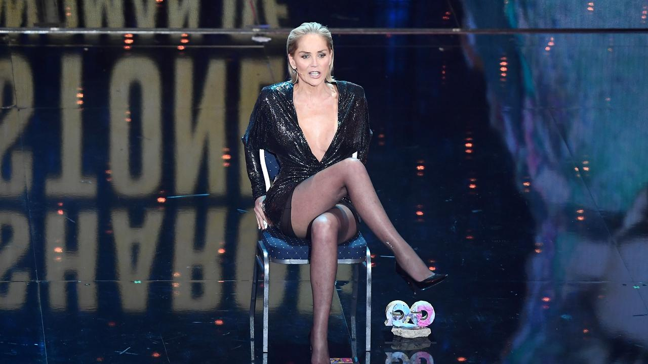 Sharon Stone re-enacts the famous movie moment on stage. Picture: Matthias Nareyek/Getty