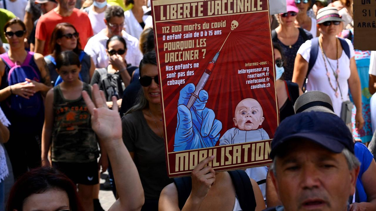 Demonstrators in Marseilles, France protest against the vaccination of children in a rally against the proposed vaccine passport. Picture: Nicolas Tucat/AFP