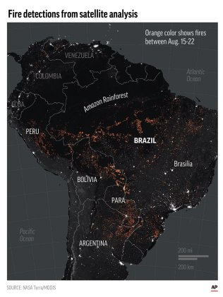 The map of South America shows satellite detection of fires burning August 15-22