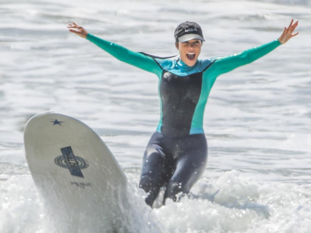 That's not how surfing works, Kourtney. Picture: Backgrid