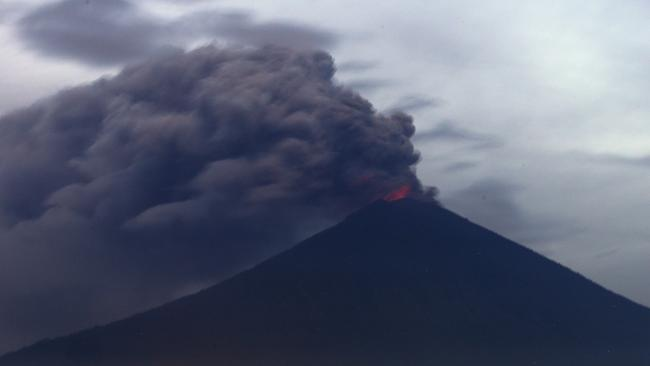 Clouds of ashes rise from the Mount Agung volcano erupting in Karangasem, Bali. Picture: AP/Firdia Lisnawati.