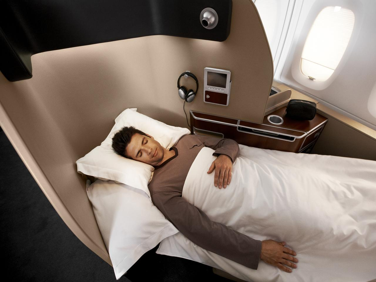 Supplied Travel QANTAS FIRST CLASS Sleeping in the Skybed of the First Class pod on board the Qantas A380