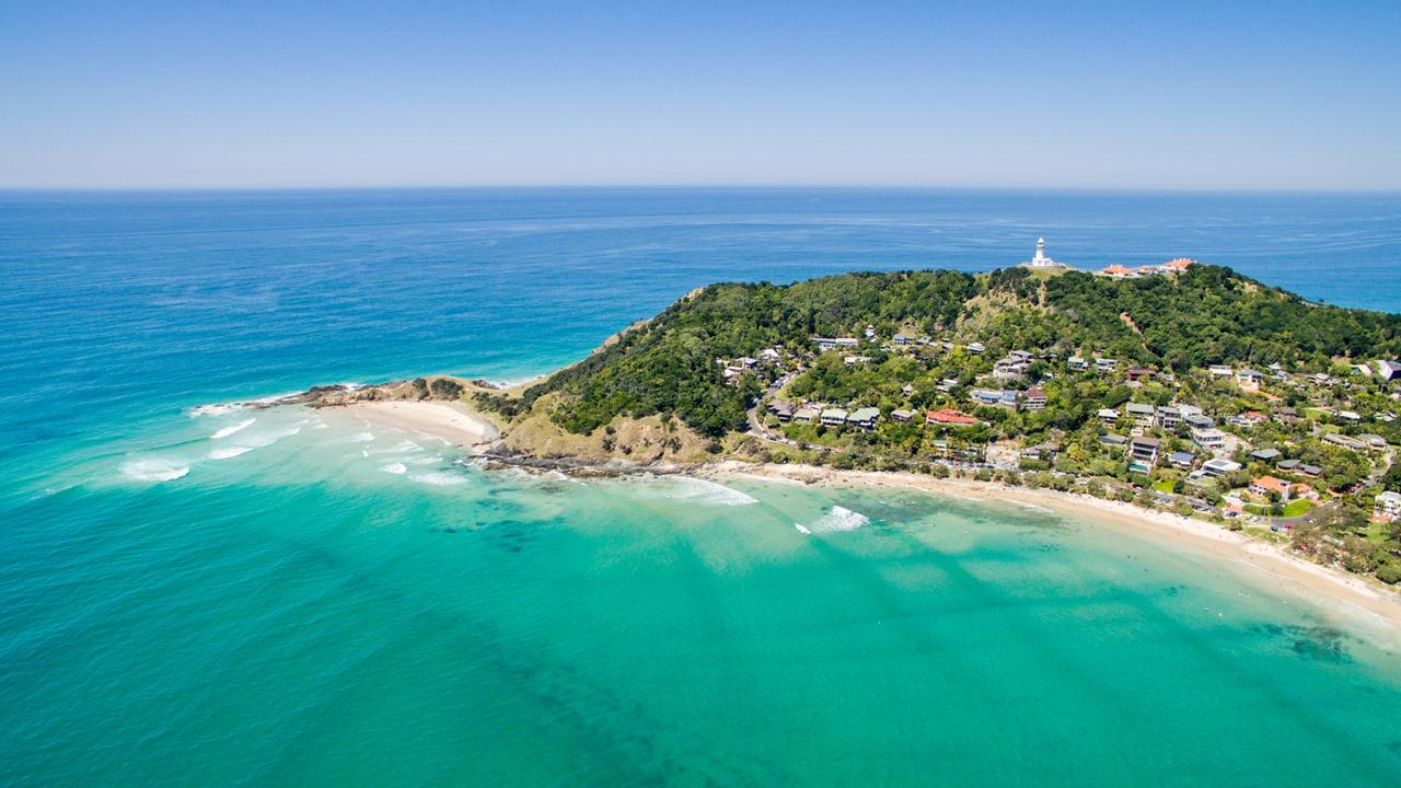 An aerial view of Wategoes beach in Byron Bay, Australia's new celebrity hot spot.
