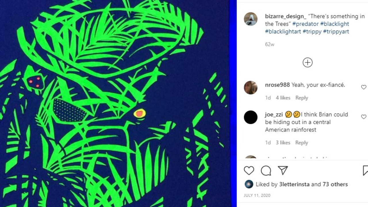 Alongside this drawing of Predator, an Instagram user has posted 'I think Brian could be hiding out in a central American rainforest'.