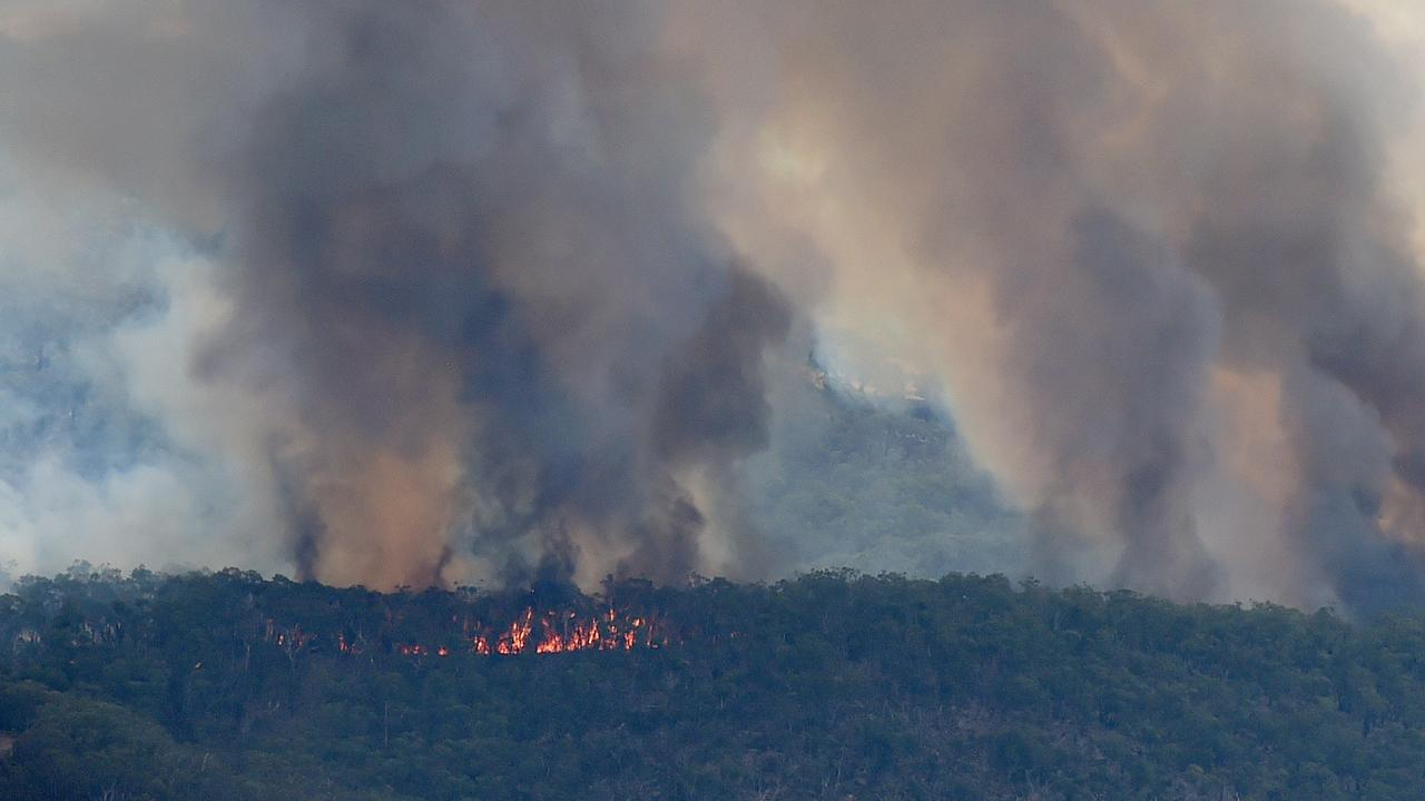 Barossa Helicopters for a fly over the Cudlee Creek in the Adelaide Hills bushfire zone on December 23, 2019. A fire continues to burn near Birdwood. Picture: Naomi Jellicoe.