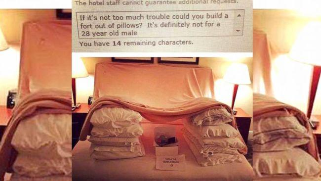 "... here he politely asked ""if it's not too much trouble could you build a fort out of pillows? It's definitely not for a 28 year old male"". This is why this fellow is considered a pioneer of the genre.  Picture: Imgur"