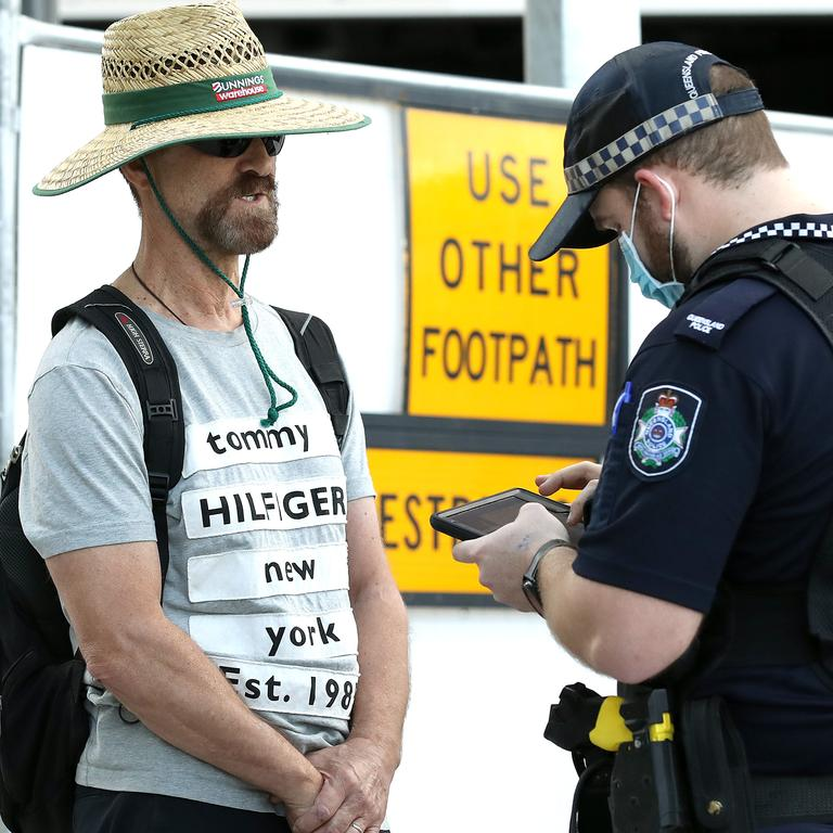 Many protesters reported being unable to meet up with the group due to a large police presence conducting checks at entry points to the city. Picture: NCA NewsWire / Jono Searle