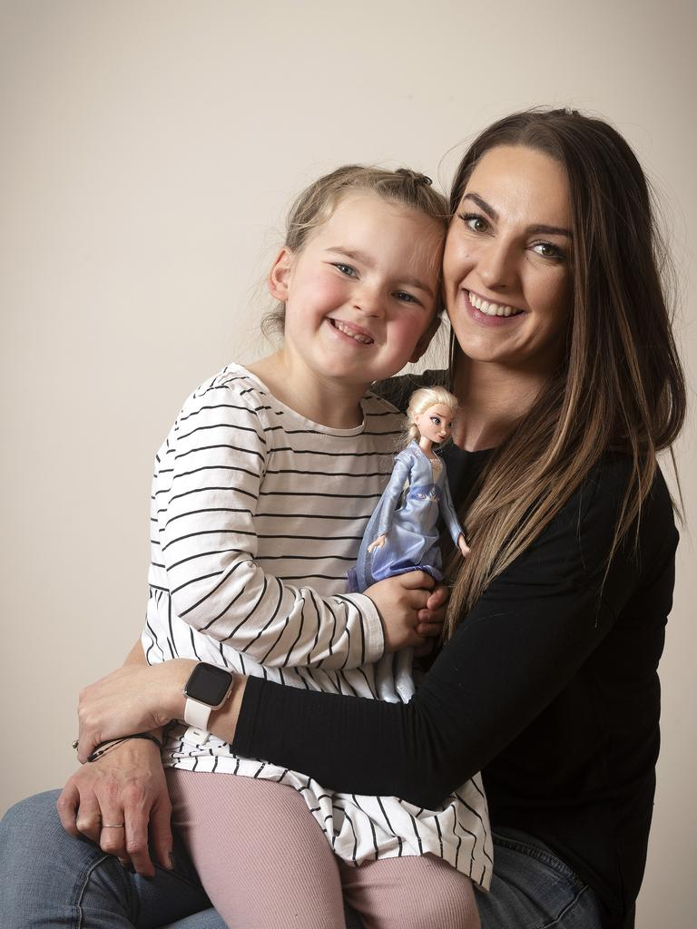 Karissa Young and her daughter Isla Kapeller 4 of Claremont will travel to Melbourne in September to have a major operation. Picture: CHRIS KIDD