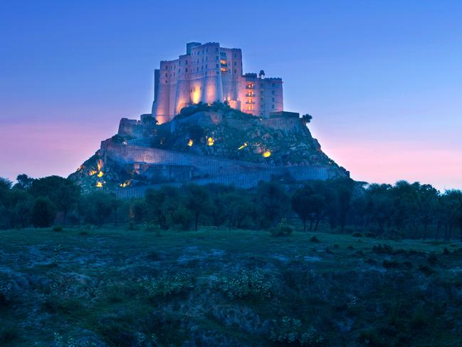 ALILA FORT BISHANGARH, JAIPUR                   Perched spectacularly atop a granite hill, this old marble and sandstone warrior fort is one of India's most unique and applauded heritage properties. Picture: Alila Hotels