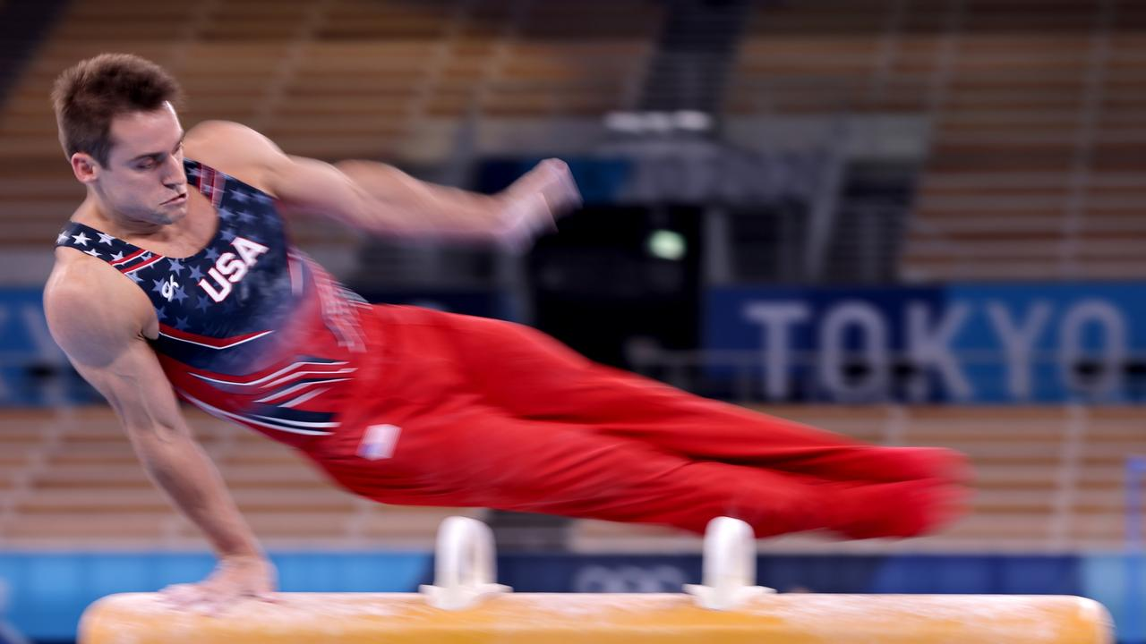 Sam Mikulak of Team USA, on the pommel horse during a practice session at the Tokyo 2020 Olympic Games, said covid had taken a hefty mental toll. Picture: Getty Images
