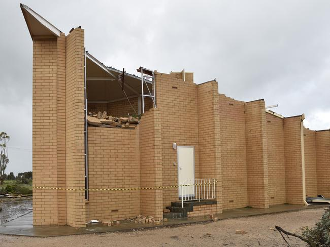 A church damaged after wild weather in Blyth.