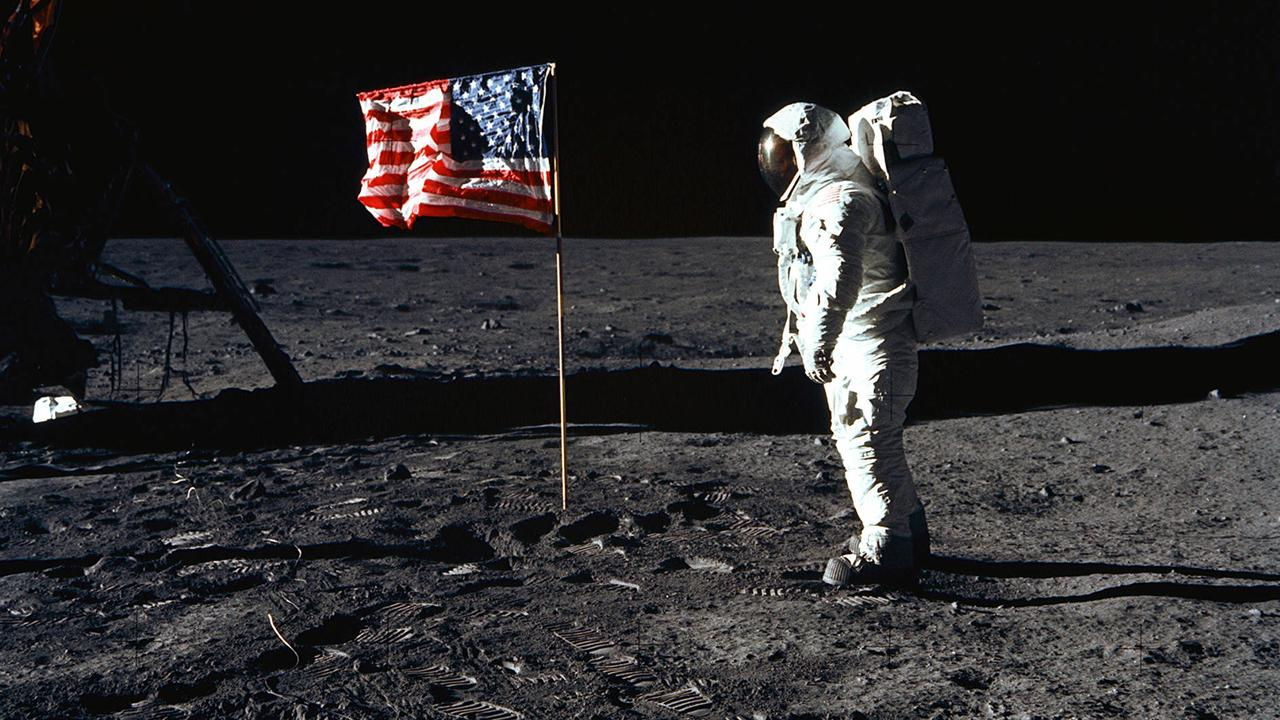 Astronaut Buzz Aldrin with the US flag on the Moon's Sea of Tranquillity on July 20, 1969. Picture: AFP/NASA/Neil Armstrong