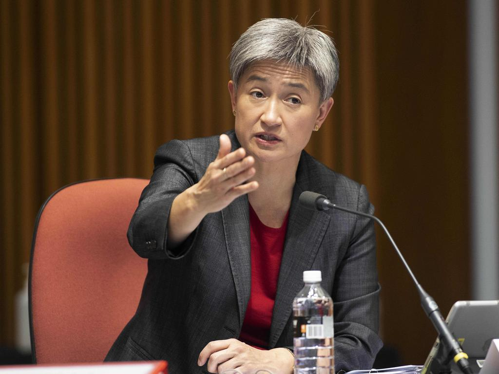 Senior Labor Senator Penny Wong grills the Department of Foreign Affairs over its communication about the scandal. Picture: NCA NewsWire / Gary Ramage