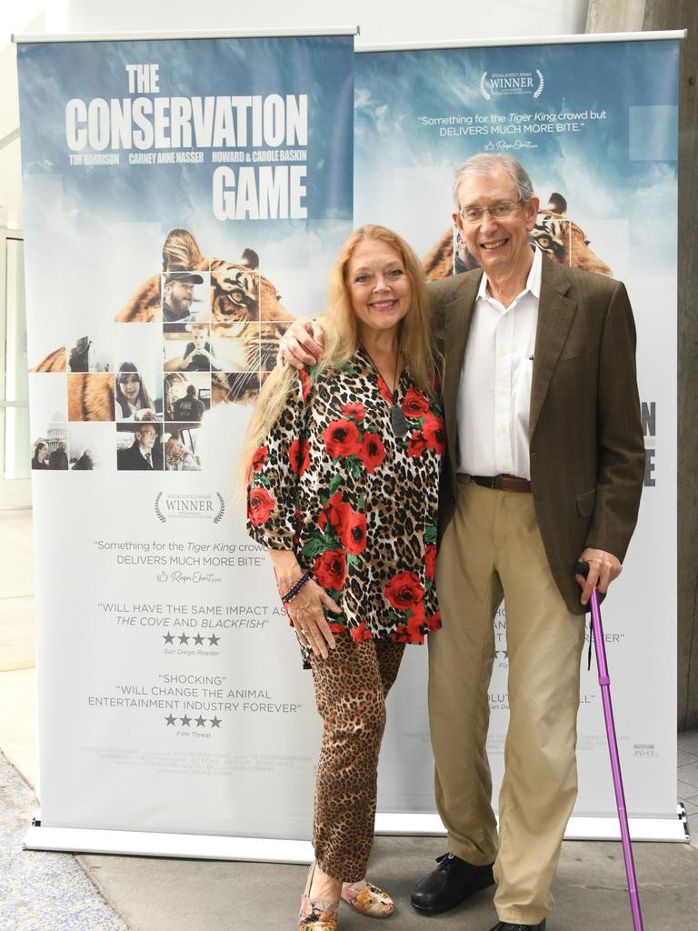 """Carole Baskin and Howard Baskin attend the Los Angeles premiere of """"The Conservation Game"""" on August 28, 2021 in Santa Monica, California. (Photo by Araya Doheny/Getty Images for NightFly Entertainment, Ltd.)"""