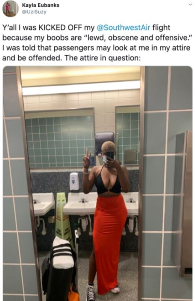 Kayla Eubanks said she was stopped from boarding a Southwest Airlines flight due to the outfit she was wearing. Picture: Kayla Eubanks