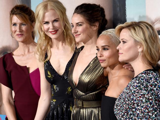 Big Little Lies stars (L-R) Laura Dern, Nicole Kidman, Shailene Woodley, Zoe Kravitz, and Reese Witherspoon. Picture: Getty