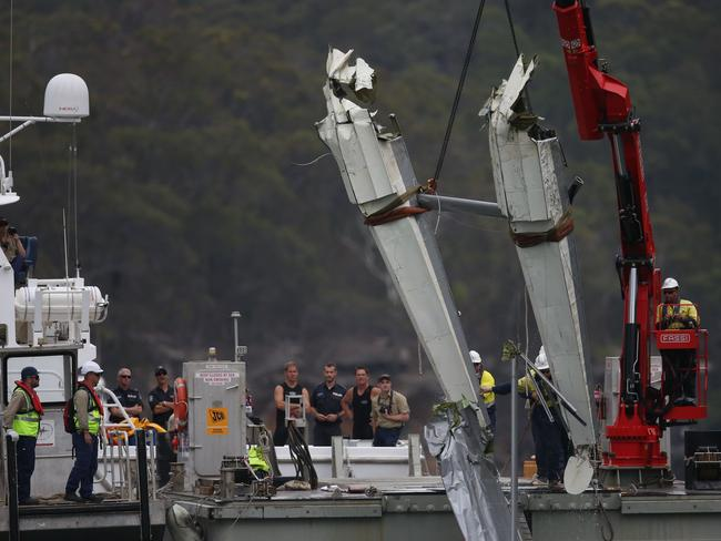 The operation to recover wreckage of the seaplane at Jerusalem Bay on the Hawkesbury River. Picture: Richard Dobson