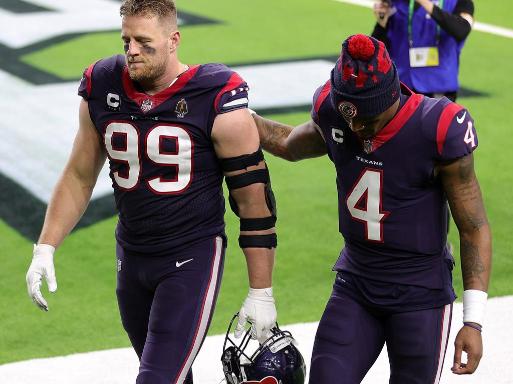 J.J. Watt and Deshaun Watson in Texans colours for the last time.