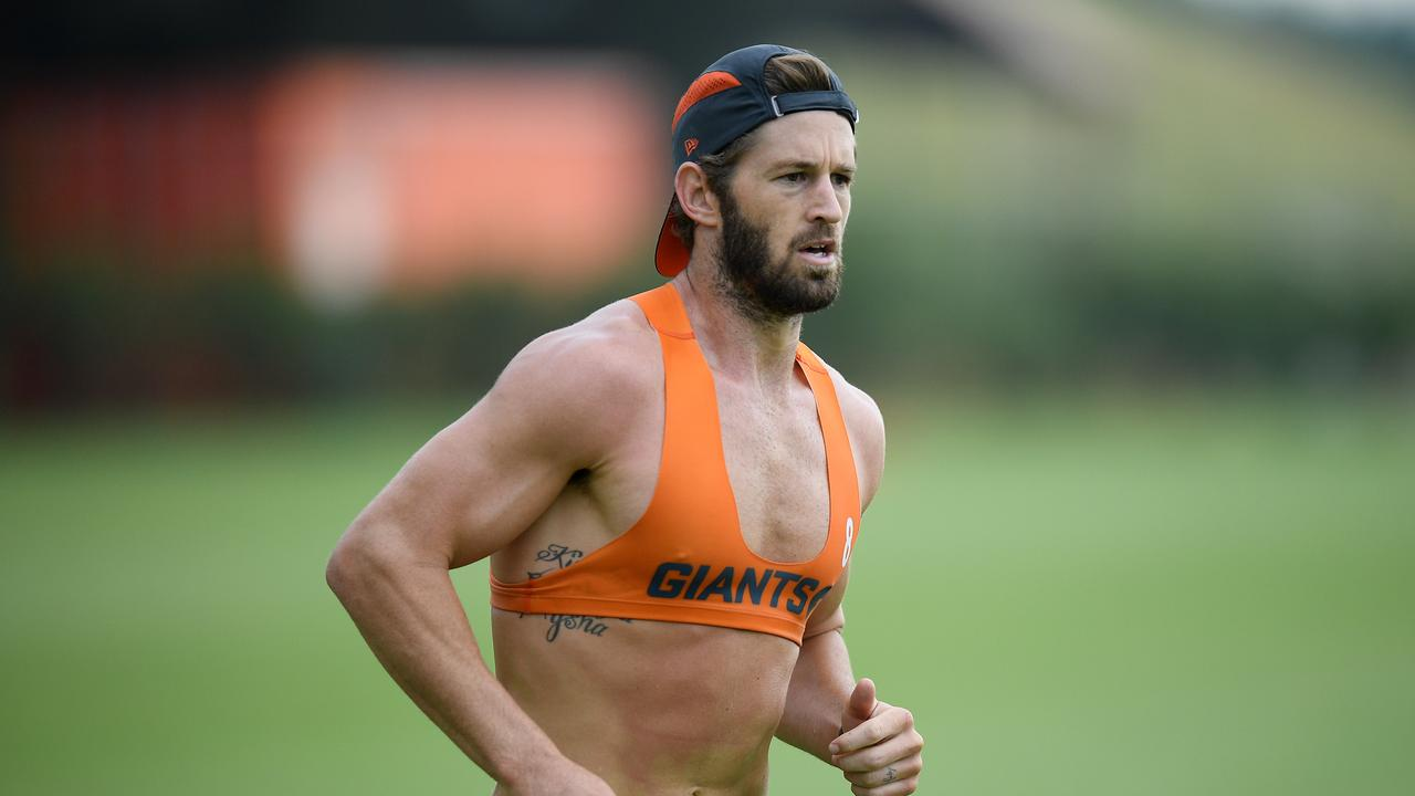 GWS Giants player Callan Ward takes part in a training session at Giants HQ in January.