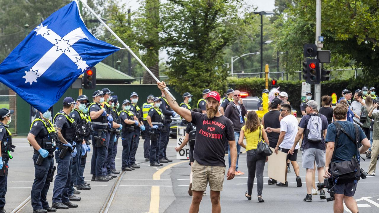 A heavy police presence at the anti-vaccination protest in Victoria on Saturday. Picture: Jake Nowakowski