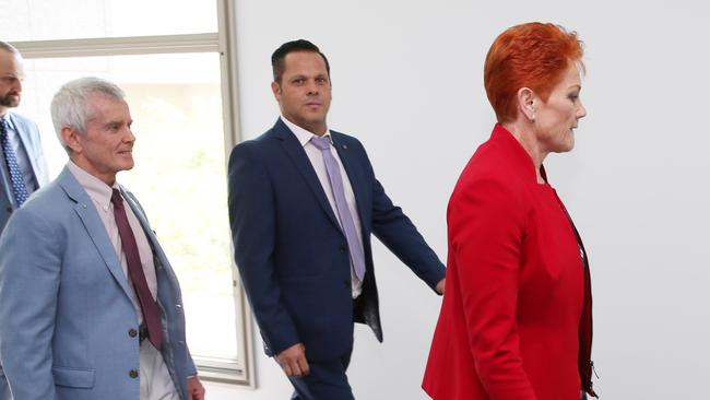 Peter Georgiou, with Malcolm Roberts and Pauline Hanson, at Parliament House in Canberra. Picture Gary Ramage