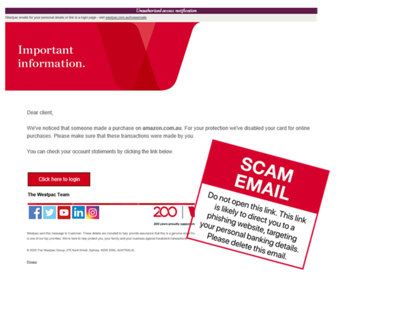 Westpac - scam email alert. For Kids News