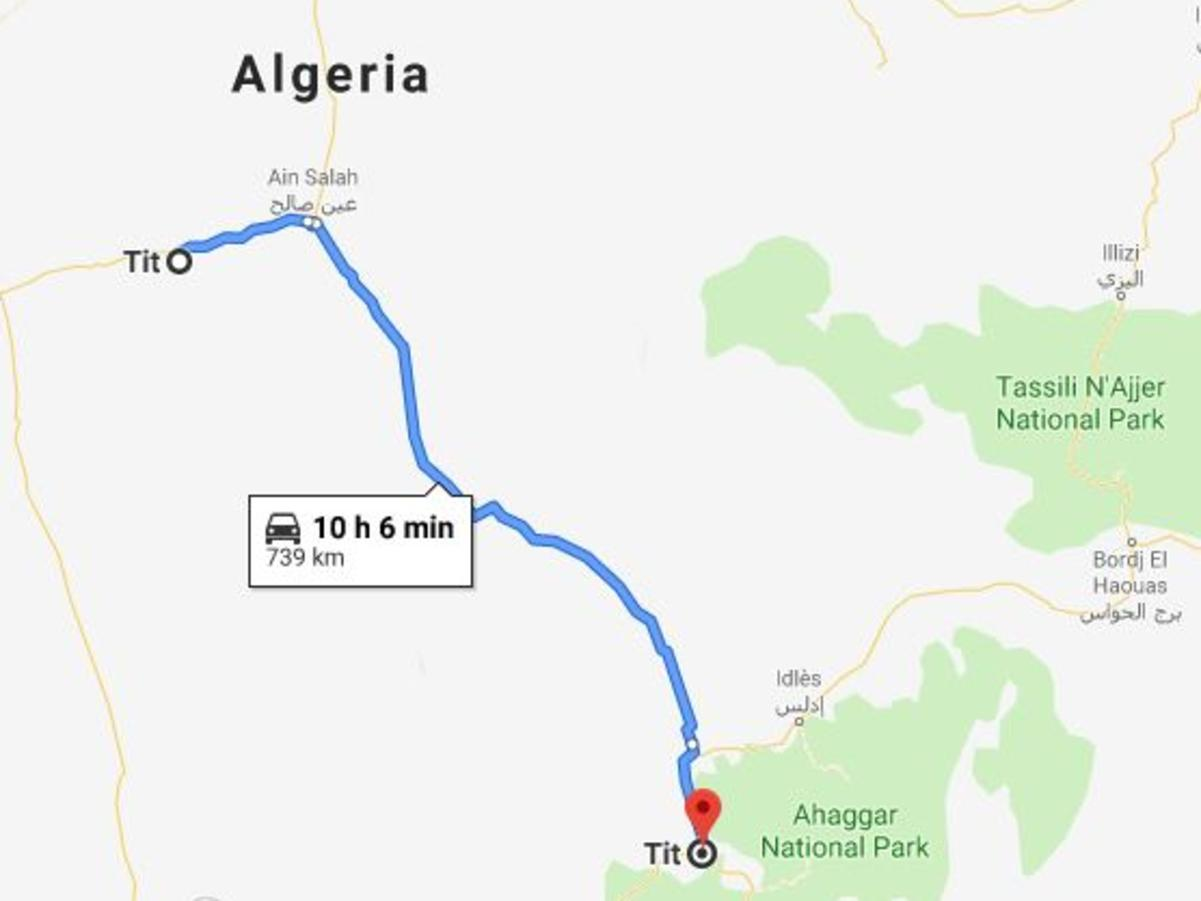 The journey between Algeria's two Tits.