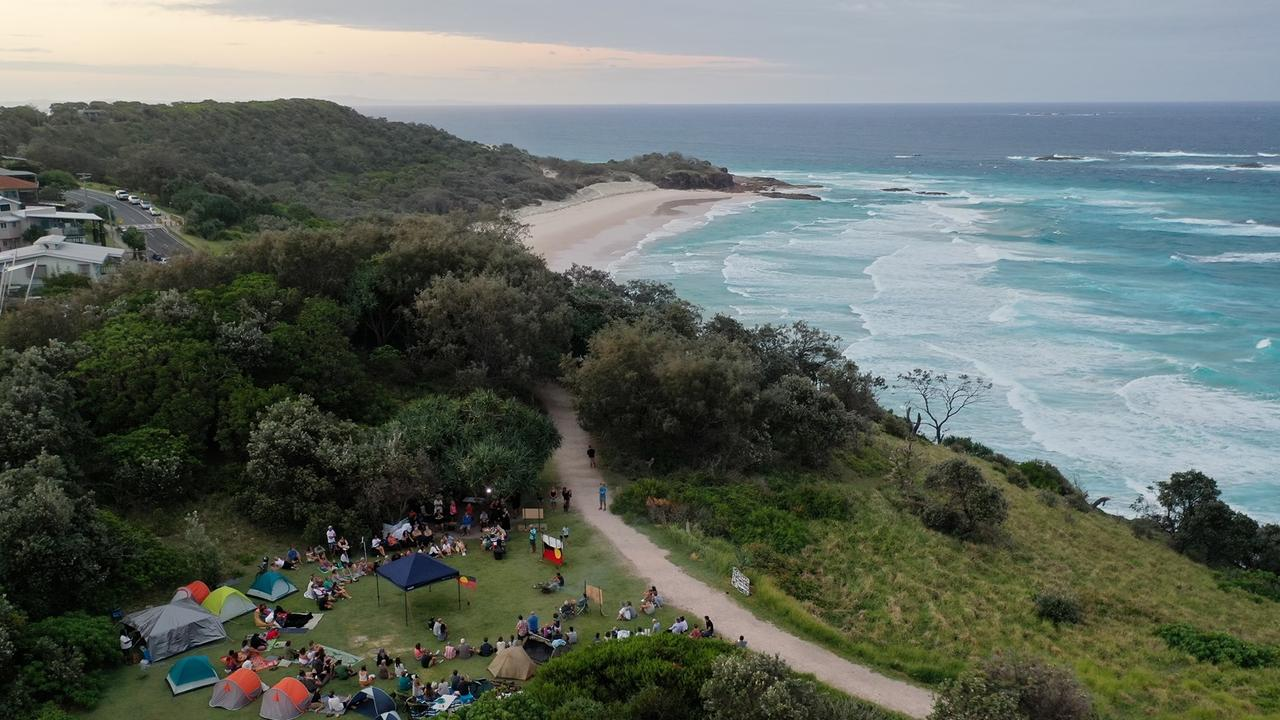 The sit-in at Point Lookout on North Stradbroke Island opposing the whale sculpture.