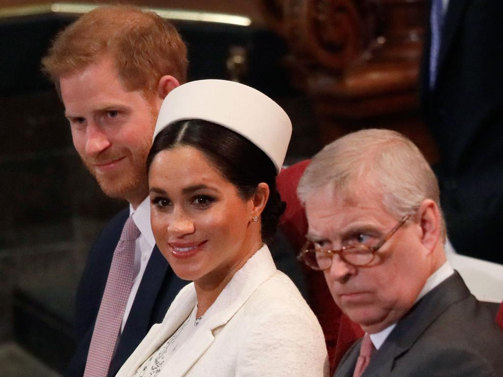Prince Harry, Meghan, the Duchess of Sussex and Prince Andrew at Westminster in March 2019 when all three were still working members of the royal family. Picture: Kirsty Wigglesworth/AFP
