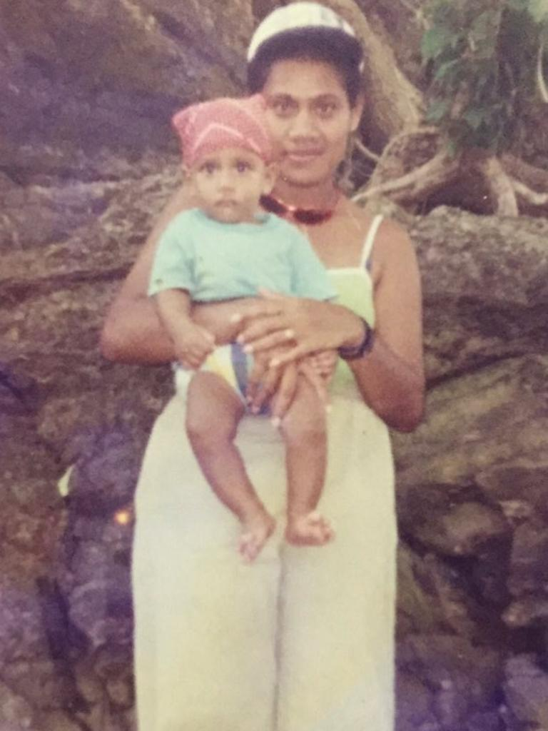 Australian Samu Kerevi as child with his late mother Salaseini. Picture: Instagram