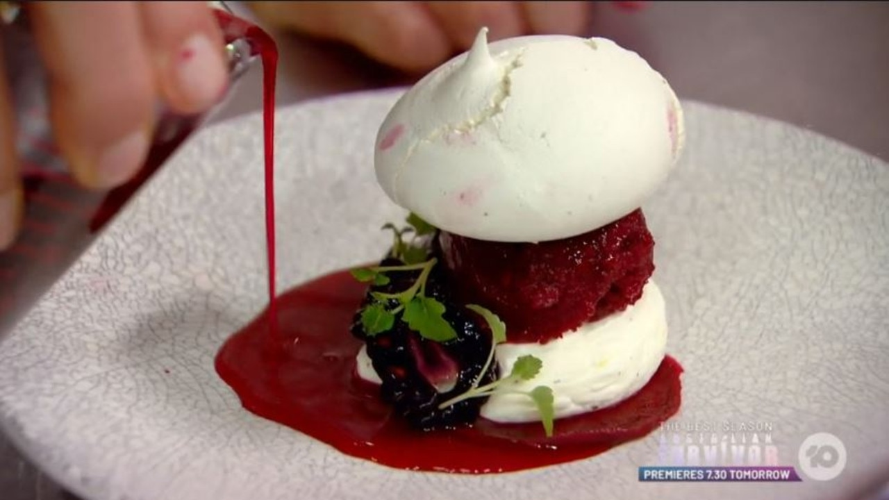 She manages to fix the dessert by flipping the meringue and defrosting the sorbet with hot water.