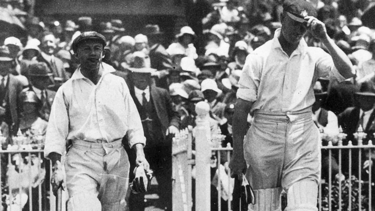 Sir Donald (Don) Bradman (l) with Jack Ryder. Cricket - First Test match at MCG in 1928.