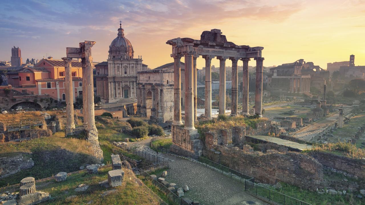 The Roman Forum in Rome during sunrise.