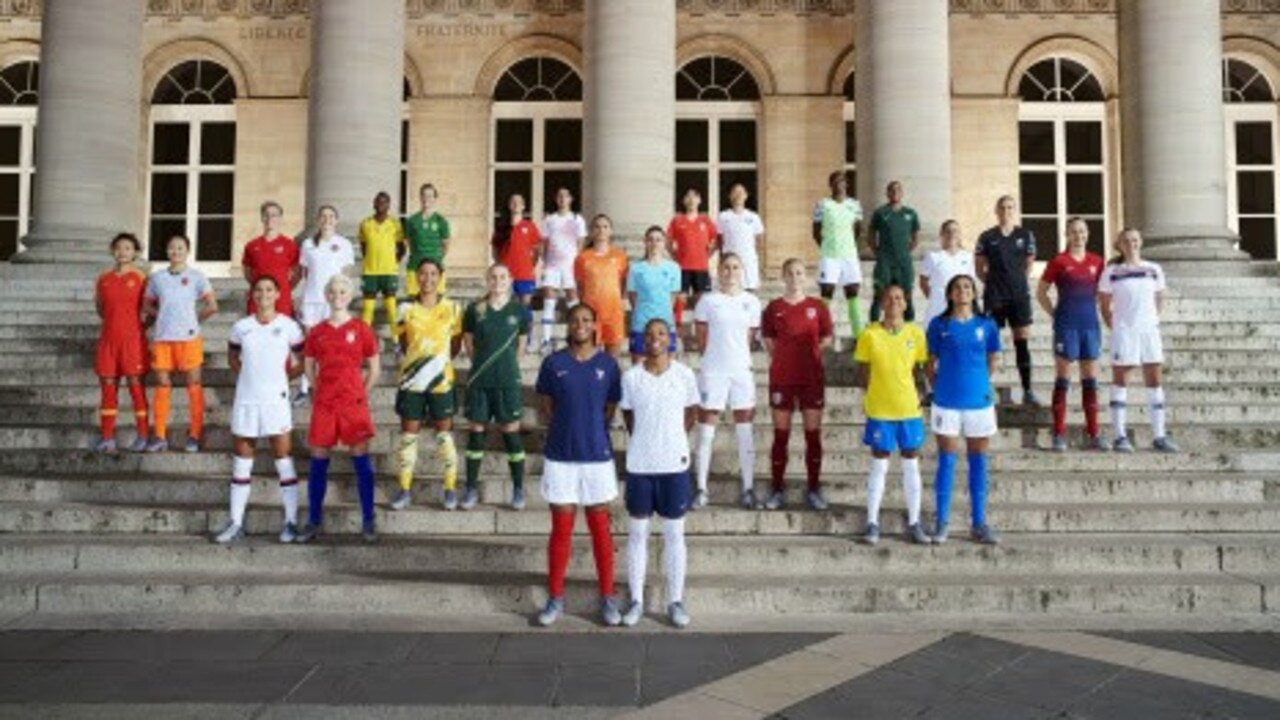 Players model the 2019 Women's World Cup kits.